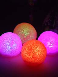 Wedding Décor Pertty Vinyl Rose Ball LED Lamp - Set of 4 (Color Changing, Built-in Botton Cell)