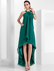 Formal Evening Dress - Plus Size / Petite A-line / Princess Halter Knee-length / Asymmetrical Chiffon