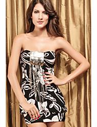 lentejuelas impresión mini vestido strapless
