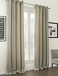(Two Panels) Classic Stripe Jacquard Cotton Linen Blend Eco-friendly Curtain