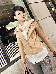 De las mujeres básicas del ajuste Cut PU chaqueta corta
