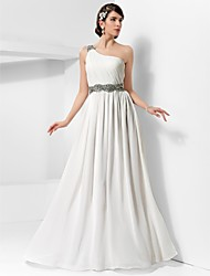 Formal Evening / Military Ball Dress - Elegant Sheath / Column One Shoulder Floor-length Chiffon with Beading / Draping / Side Draping