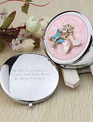 Personalized Butterly Design Chrome Compact Mirror Favor