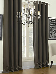 Modern Two Panels Solid Chocolate Living Room Polyester Blackout Curtains Drapes
