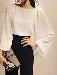 Women's Solid White Blouse/Shirt,Work Round Neck Long Sleeve
