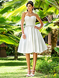 Lanting A-line/Princess Plus Sizes Wedding Dress - Ivory Knee-length Sweetheart Satin