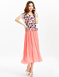 TS Round Neck Pleated Dress , Chiffon Maxi Sleeveless