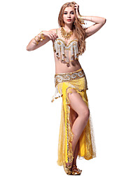 Performance Dancewear Charming Chiffon Belly Dance Outfit Top and Belt and Skirt For Ladies