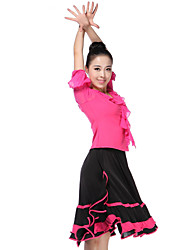 Dancewear Viscose with Tulle Latin Dance Outfit Top and Skirt For Ladies More Colors