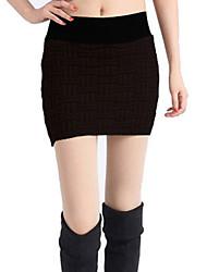 Cuadrícula de punto paquete falda de la cadera Negro (cintura: los 58-79cm Cadera: los 90-104 Longitud: los 56cm)