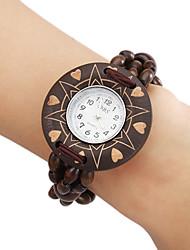 Madeira analógico relógio pulseira de quartzo das mulheres (Brown)