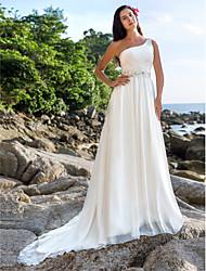 Lan Ting A-line/Princess Plus Sizes Wedding Dress - Ivory Chapel Train One Shoulder Chiffon