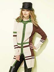 MYWELL Contrast Color Zipper Hoodie Cardigan