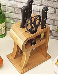 R Forma de bambu navalha facas de cozinha rack, W18cm x L13cm x H22cm