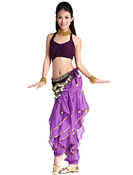 Dancewear Crystal Cotton and Chiffon Belly Dance Outfit For Ladies More Colors