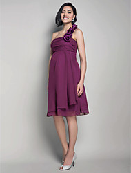 Knee-length Chiffon Bridesmaid Dress - Grape Maternity A-line / Princess One Shoulder