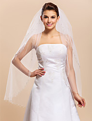 Three-tier Fintertip Wedding Veil With Beaded Edge