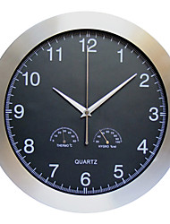 Modern Stainless Steel Wall Clock with Thermometer & Hygrometer
