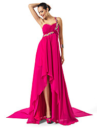 TS Couture Formal Evening Dress - High Low Sheath / Column One Shoulder Sweetheart Asymmetrical Chiffon with Beading Draping Criss Cross