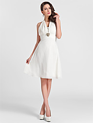 Knee-length Chiffon Bridesmaid Dress A-line / Princess Halter Plus Size / Petite with Beading / Draping / Crystal Brooch / Ruching