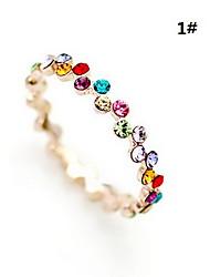 lureme®gold plaqué allouer anneau de zircon double rangée (couleurs assorties)