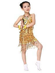 Desempenho poliéster dancewear com lantejoulas Latina Vestido Dança para Crianças