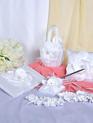 Collection de mariage chic Ensemble en satin blanc avec de jolies fleurs (6 Pieces)
