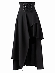 Tea-length Patched Black Cotton Gothic Lolita Long Skirt