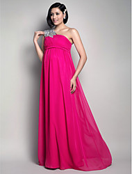 Formal Evening/Wedding Party Dress - Fuchsia Maternity Sheath/Column One Shoulder Floor-length Chiffon