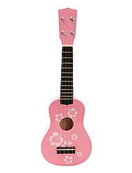 Цветочные Детский Pattern Фанера сопрано укулеле (розовый)