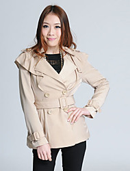 F.NY Turndown Collar Double Breast Cream Trench Coat