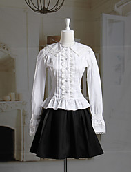 Long Sleeve White Blouse and Short Black Skirt Classic Lolita Outfit
