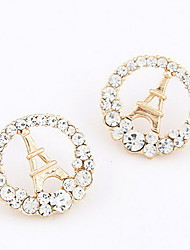 Vergoldet Alloy Zirkon Eiffelturm Muster Ohrringe (verschiedene Farben)