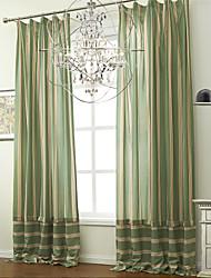 (Two Panels) Jacquard Modern Stripe Cotton Linen Blend Eco-friendly Curtain