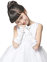 Elbow Length Fingerless Glove Satin Flower Girl Gloves Spring Fall Winter