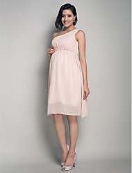 Lanting Bride® Knee-length Chiffon Bridesmaid Dress - A-line / Princess One Shoulder Maternity with Draping / Side Draping