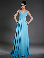 Lanting Bride® Floor-length Chiffon Bridesmaid Dress - A-line V-neck / Straps Plus Size / Petite with Beading / Draping / Criss Cross