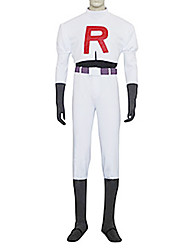 Inspirado por Pocket Monster Team Rocket James Vídeo Jogo Fantasias de Cosplay Ternos de Cosplay Cor Única Branco Manga CompridaTop /