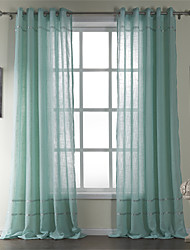 Neoclassical Two Panels Stripe Blue Living Room Cotton Sheer Curtains Shades