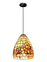 80W artistique Tiffany lumière pendante avec 2 lumières et coloré Nature Matériel de Shell Shade intégré Bas