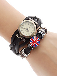 Women's UK Flag Style Leather Analog Quartz Bracelet Watch (Black)