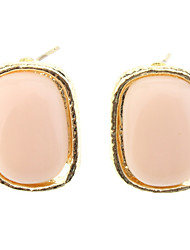 Stud Earrings Alloy Simple Style White Beige Jewelry Daily
