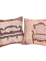 Set of 2 Antique Style Cotton/Linen Decorative Pillow Cover