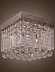 Modern Crystal Flush Mount with 4 Lights in Square