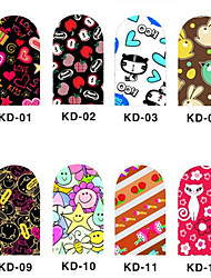 12PCS 3D Full-cover Nail Art Stickers Cartoon Series(NO.1,Assorted Color)
