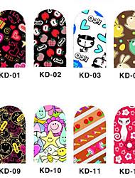 12PCS 3D Full-couvrir Nail Art Stickers série de bande dessinée (N ° 1, couleurs assorties)