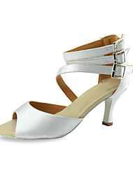 Customized Damen Ankle Strap mit Schnalle Obermaterial Satin Tanzschuhe