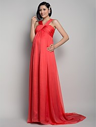 TS Couture® Formal Evening Dress - Elegant Maternity A-line Straps Sweep / Brush Train Chiffon with Draping / Criss Cross