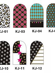 12PCS 3D полным покрытием Nail Art Наклейки внезапный порошок серии (№ 1, разных цветов)