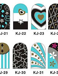 12PCS 3D полным покрытием ногтей Наклейки внезапный порошок серии (№ 4, разных цветов)